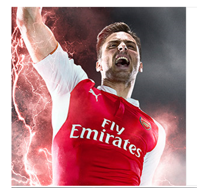 Also from Arsenal.com.  On second thought, Giroud looks a bit scary here.  But good camera work capturing that real lightening!