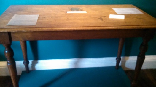 Desk used by Dickens to write The Mystery of Edwin Drood, which he was working on at his death (though not in the Charles Dickens house itself).