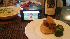 The Ox surveys his Beef Wellington and wonders if a Pinot Noir from the Russian River Valley is an acceptable pairing. Probably not.