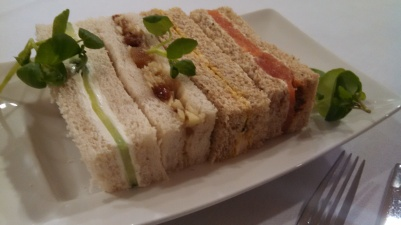 Finger sandwiches at Wesley's afternoon tea